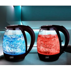 Neo Blue or Red LED Glass Kettle