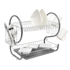 2 Tier Dish Drainer Rack Grey