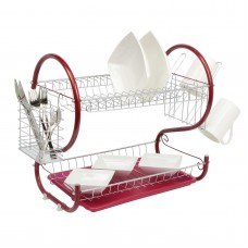 2 Tier Dish Drainer Rack Red