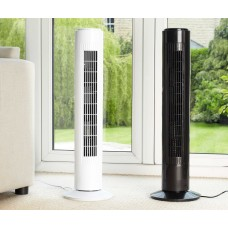 IcePro 50W Oscillating Tower Fan in Black or White
