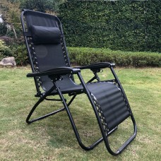 2 x Black Zero Gravity Chairs with Drink Phone Tray