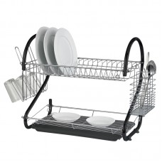 2 Tier Dish Drainer Rack Black