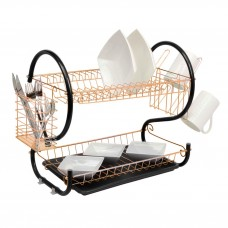 2 Tier Dish Drainer Rack Copper