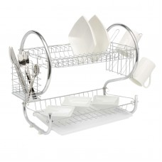 2 Tier Dish Drainer Rack Chrome